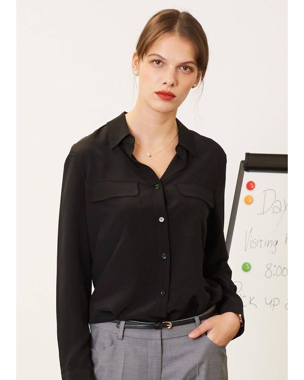 レディース爽やか 春夏 シルクシャツ・ブラウス ボックスプリーツ 長袖 チェストポケット 着こなしやすい 肌触りよい UVカット 着心地抜群