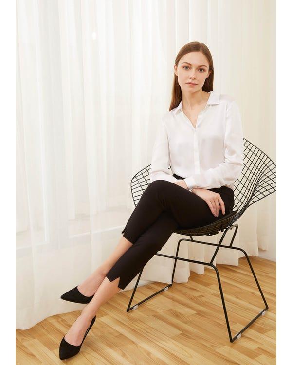 Basic Concealed Placket Silk Shirt-hover