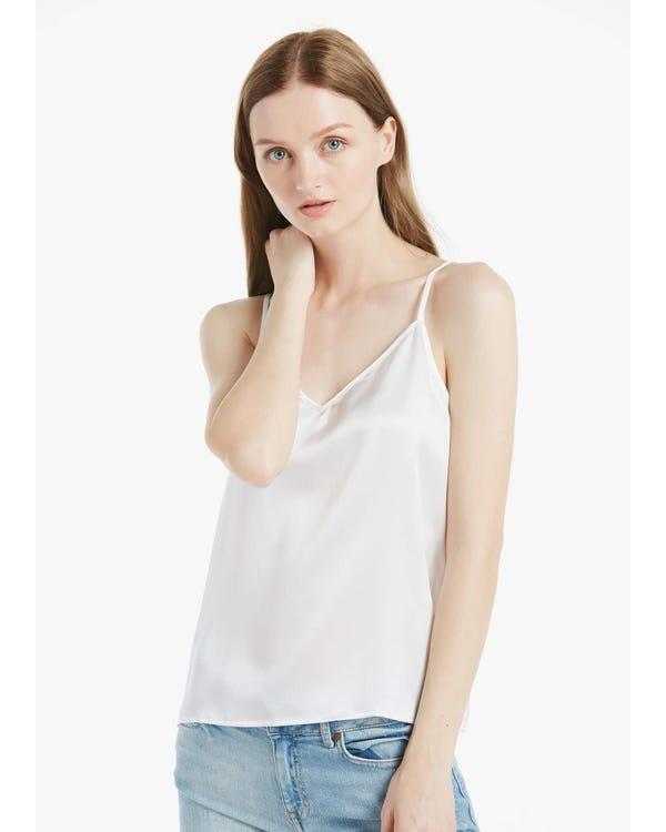 春夏シルク キャミソール V字型ネック&バック 肌に優しい ヨガ 通気性良い UVカット
