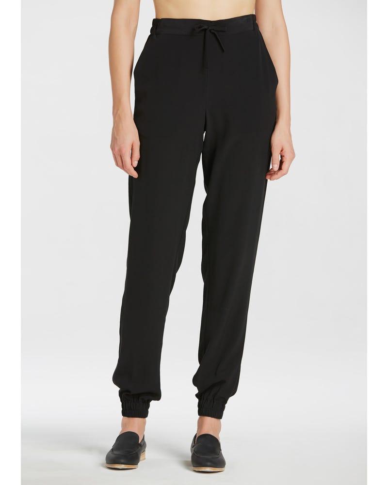 Black Elastic Waist Silk Pants