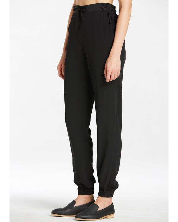 Black Elastic Waist Silk Pants-hover