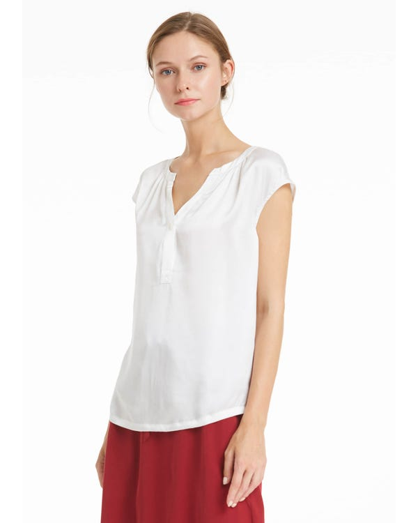 Casual V Neck Silk Tee-hover