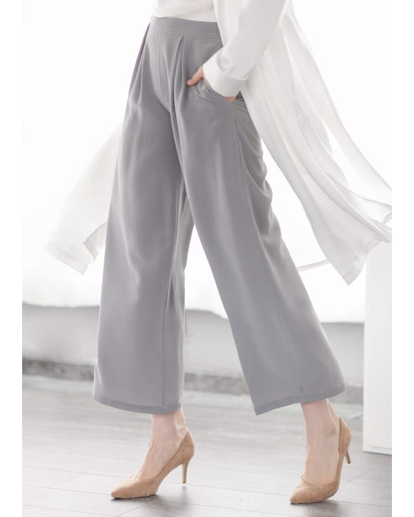 Smooth Silk wide leg cropped pants
