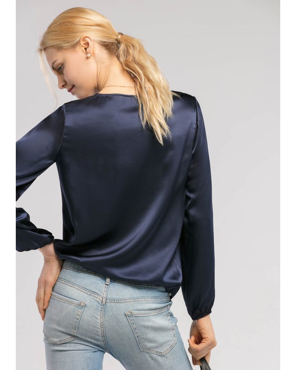Round Neck  Silk Blouse-hover