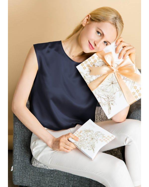 Basic Cap Sleeves Silk Tee-hover