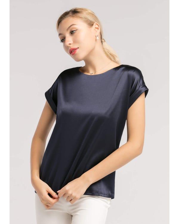 Short Sleeves Round Neck 19MM Silk T Shirt