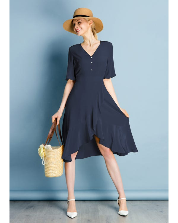 Ruffle Trim V Neck  Silk Dress
