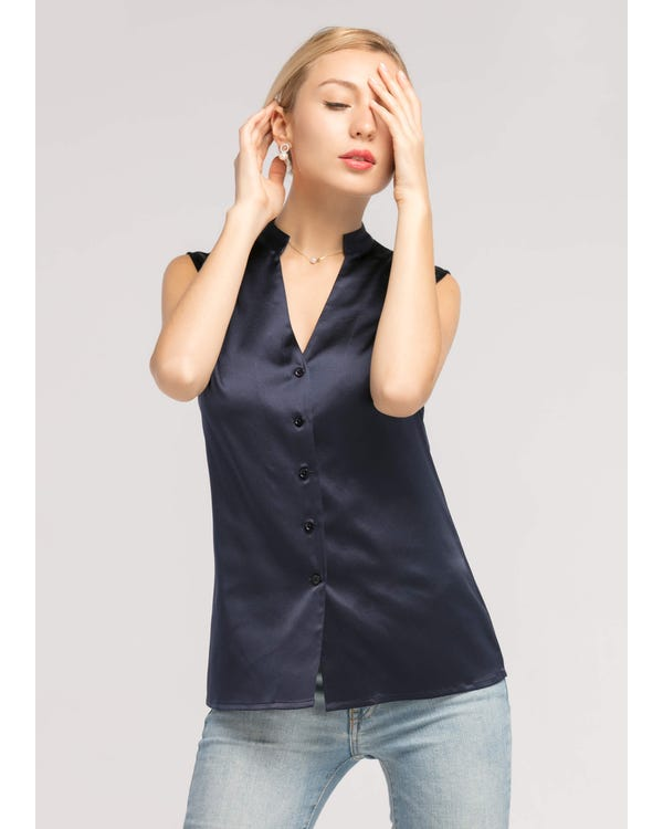 Basic V Neckline 19MM Face Framing Silk Shirt
