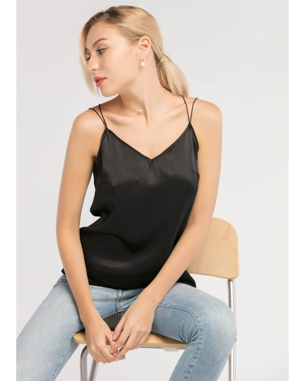 Sexy V Neck 19MM Silk Camisole-hover