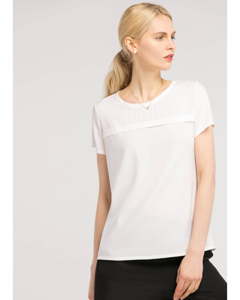 【19匁】カジュアル 丸首 シルク Tシャツ