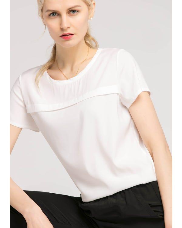 【19匁】カジュアル 丸首 シルク Tシャツ-hover