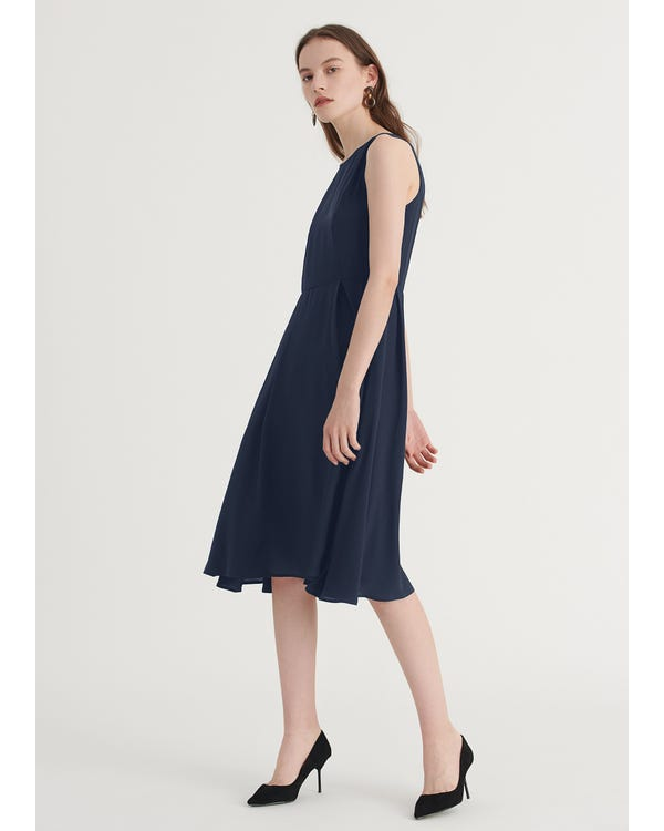 【16匁】定番 丸首シルク 黒ワンピース ヘプバーン ドレス-hover