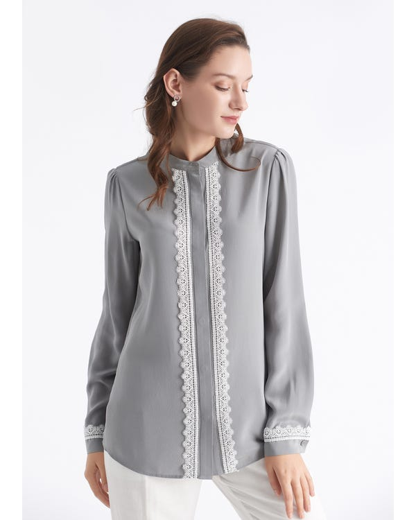 Stand Collar Lace-Trim Silk Blouse