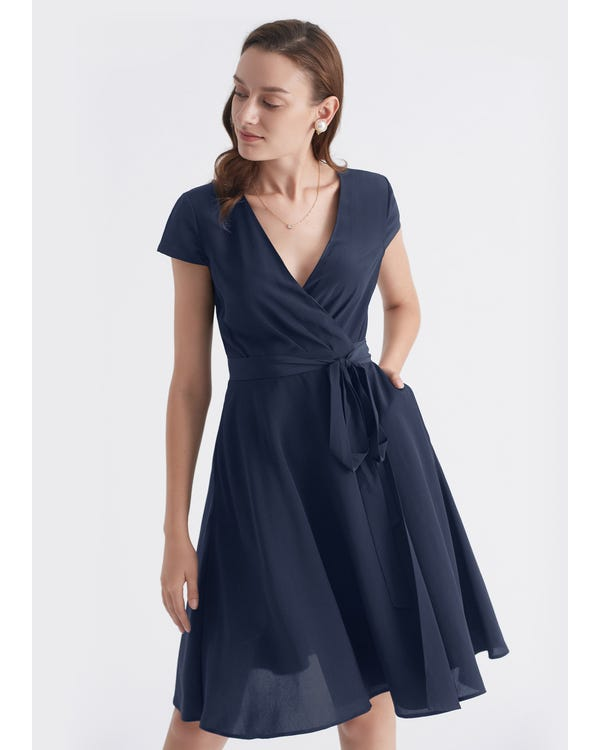 Figure Flattering Silk Wrap Dress