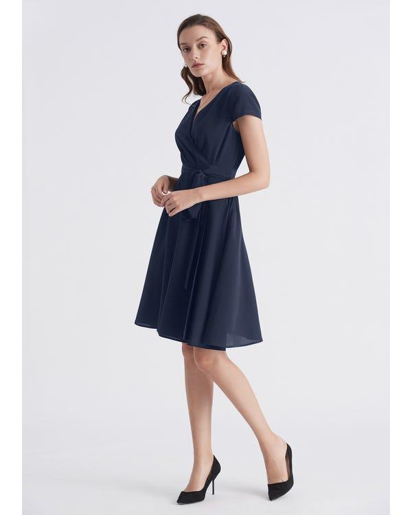 Figure Flattering Silk Wrap Dress-hover