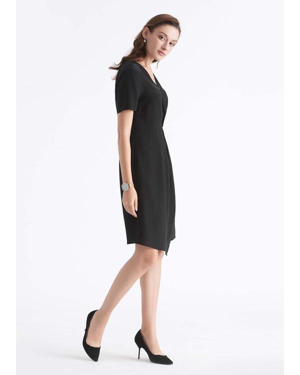 Twist Front Silk Little Black Dress for Work