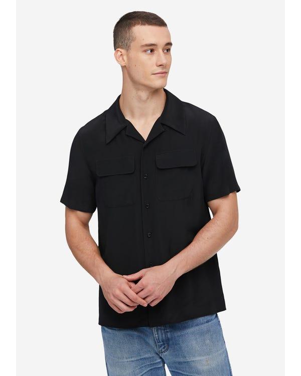 メンズ クラシック 半袖 シルクシャツ