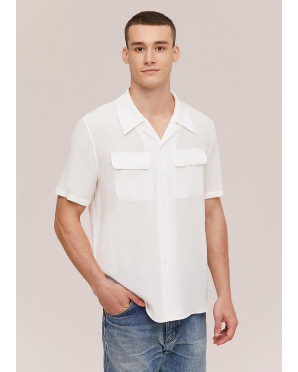 メンズ クラシック 半袖 シルクシャツ Natural White JPL