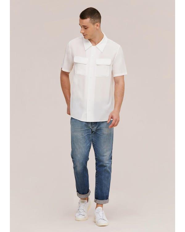 メンズ クラシック 半袖 シルクシャツ Natural White JPL-hover