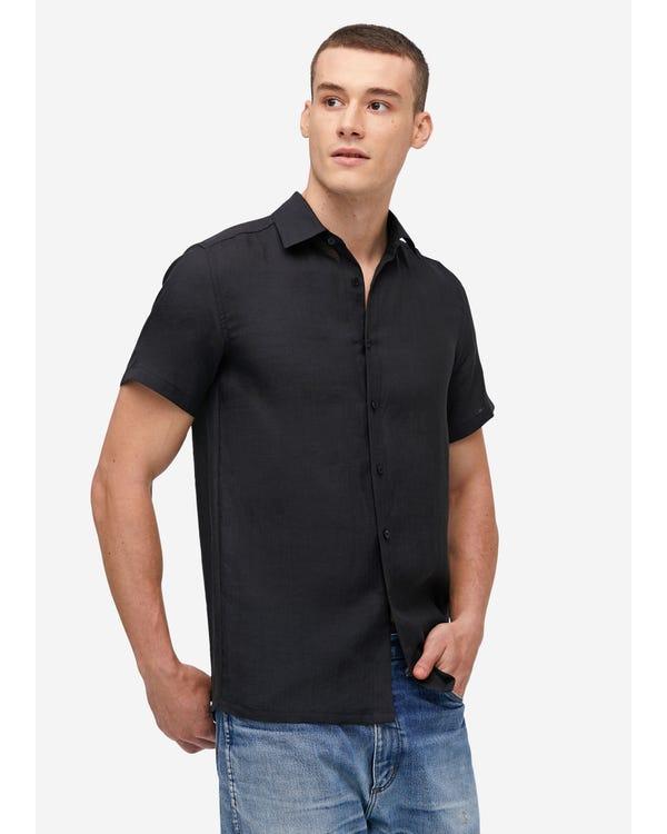 シンプル リネン 半袖メンズシャツ Black JPL