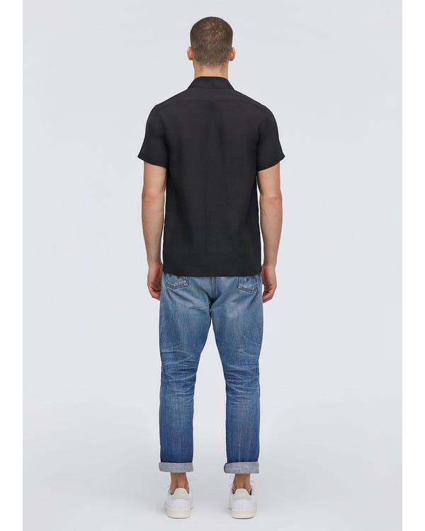 シンプル リネン 半袖メンズシャツ Black JPL-hover