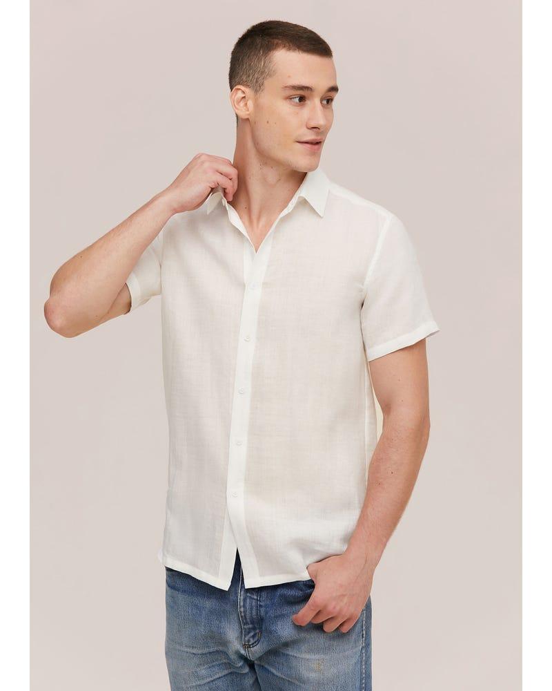 シンプル リネン 半袖メンズシャツ