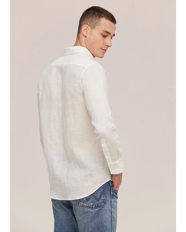 メンズ定番 リネン長袖シャツ