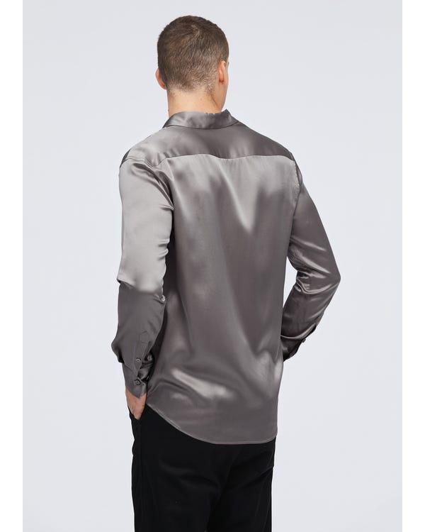 22匁 定番 シルクメンズシャツ Dark Gray JPL-hover