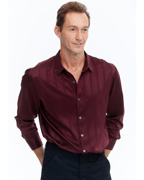 メンズ 贅沢 長袖 シルクシャツ