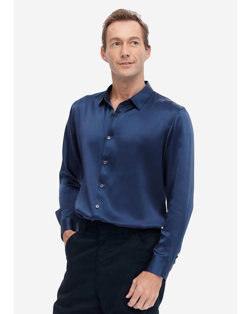 メンズ クラシック長袖 シルクシャツ