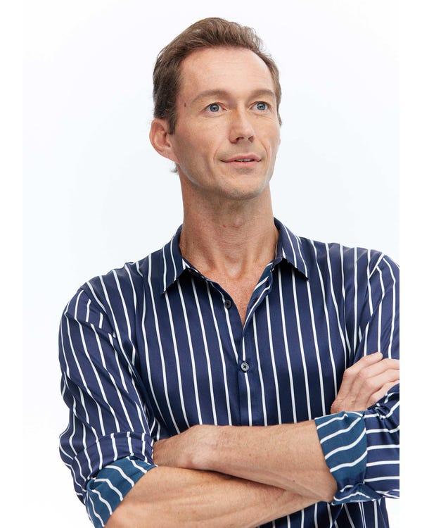 メンズ 長袖 ストライプ柄シルクシャツ