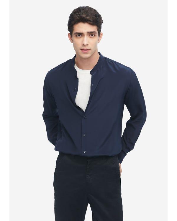 メンズ フォーマル シルクシャツ Navy Blue L