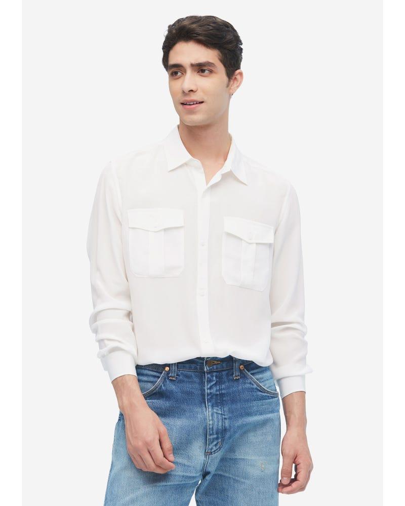 メンズ フォーマル シルクシャツ パッチポケット