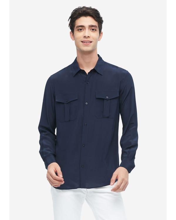 メンズ フォーマル シルクシャツ パッチポケット Navy Blue L