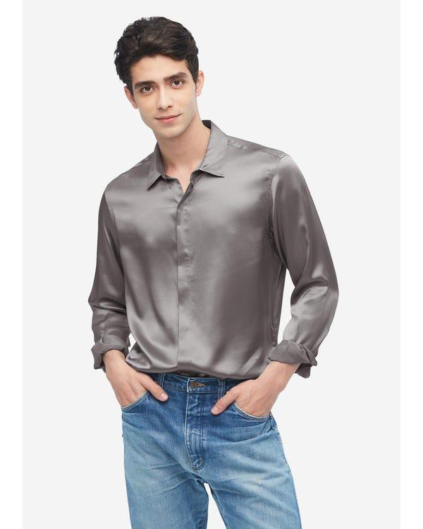 メンズ クラシック 長袖 シルクシャツ Dark Gray L