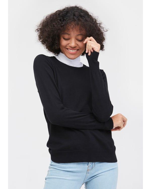 上質 丸首ニット セーター