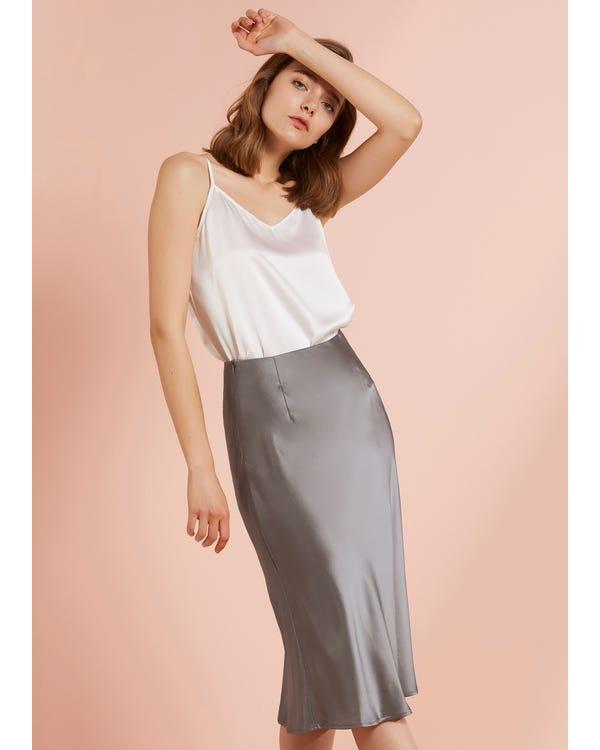 Knee-Length Hips-Wrapped Silk Skirt