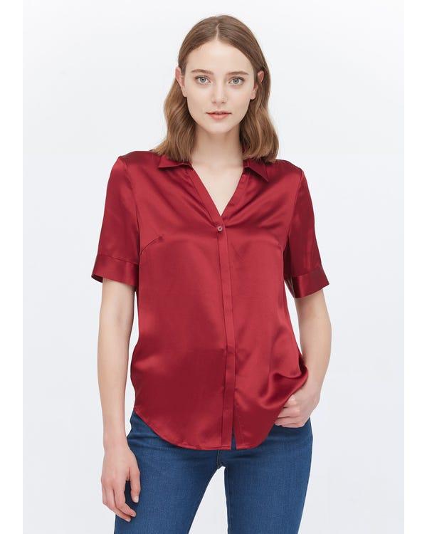 知的 Vネック 半袖 夏 シルクシャツ ブラウス通勤服 普段着 夏に涼しい