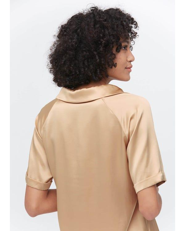 無地 半ボタン 半袖 折り袖口 シルク ブラウス 夏に涼しい UVカット 速乾吸汗