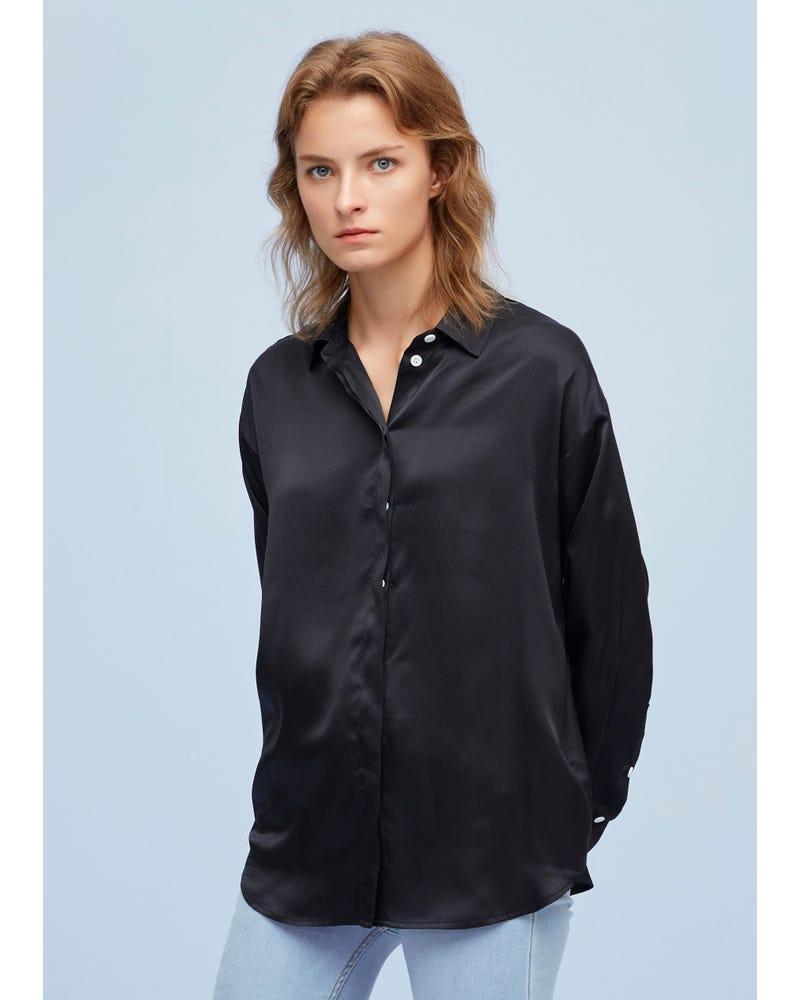 上質 シルク素材パールサテン リラックス 長袖シルクシャツ