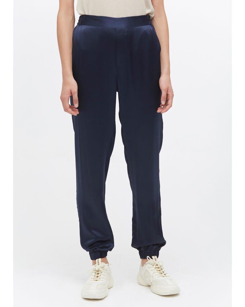 Elastic Hem Casual Silk Pants
