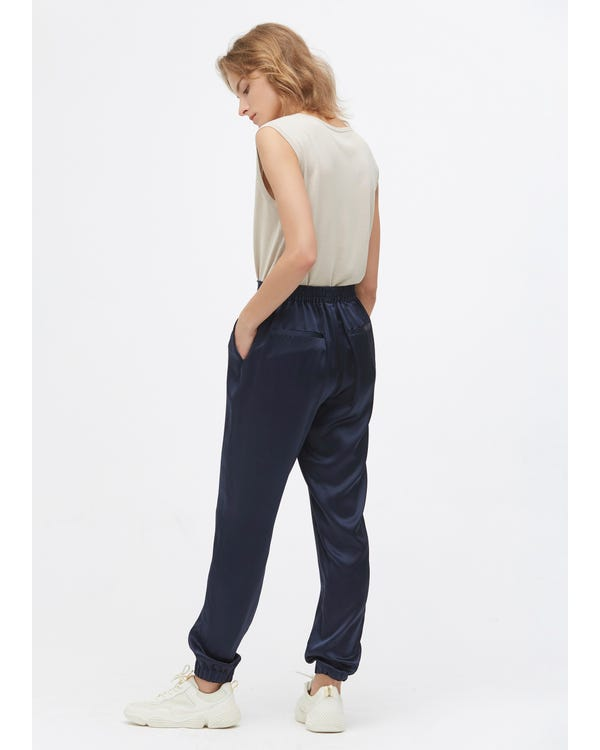 Elastic Hem Casual Silk Pants