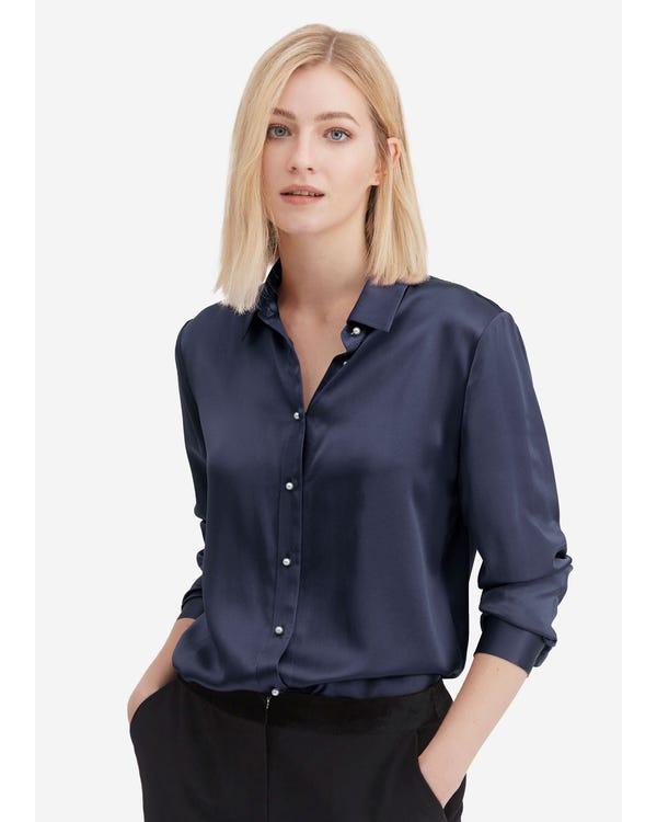 Classic Pearl Button Silk Shirt