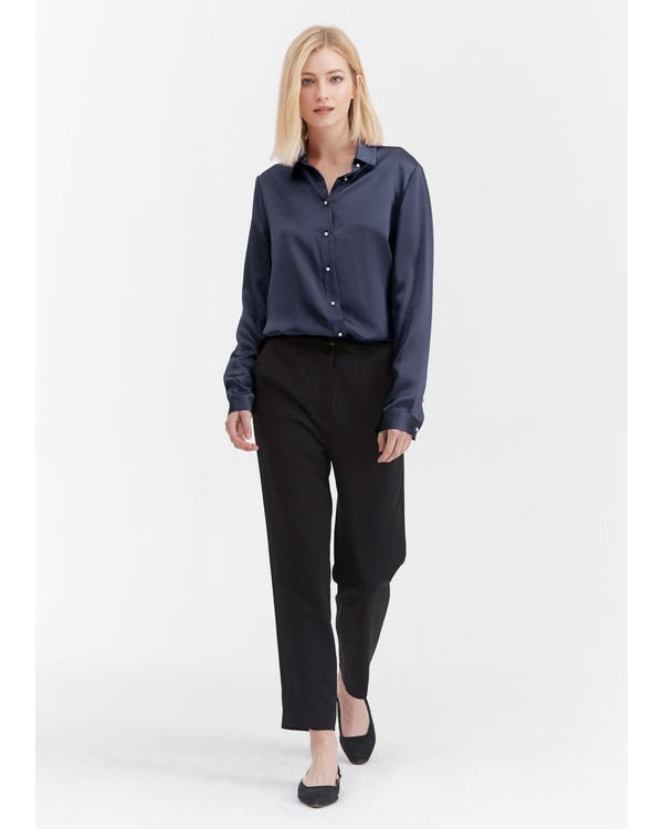 Classic Pearl Button Silk Shirt-hover
