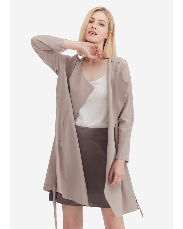 Classic Long Sleeve Silk Outerwear