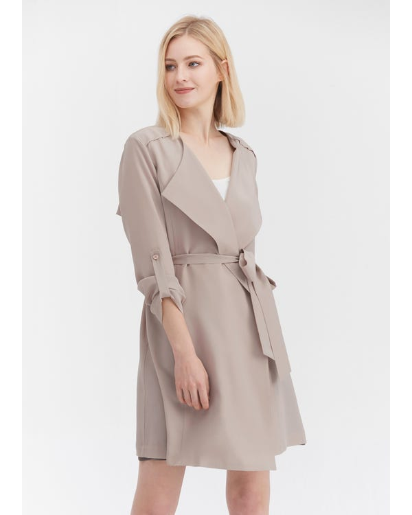 Classic Long Sleeve Silk Outerwear-hover