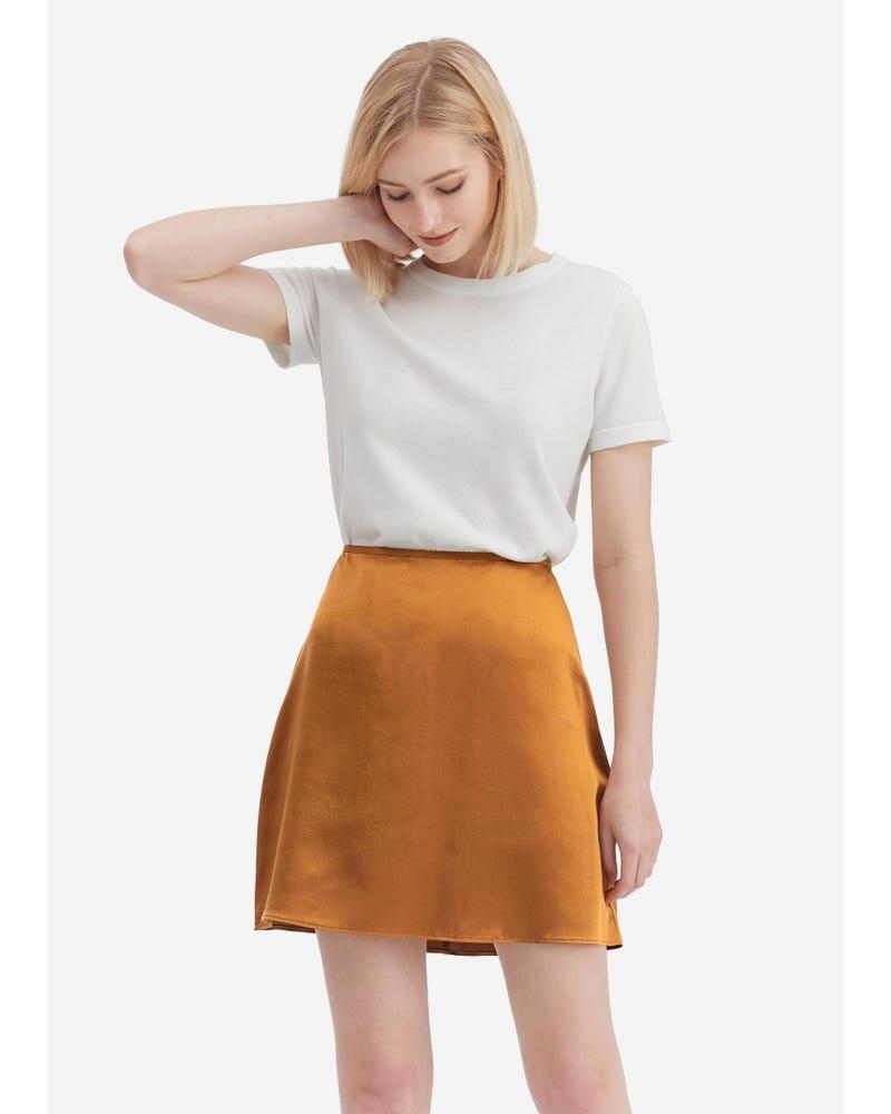 シルク Aライン ミニスカート
