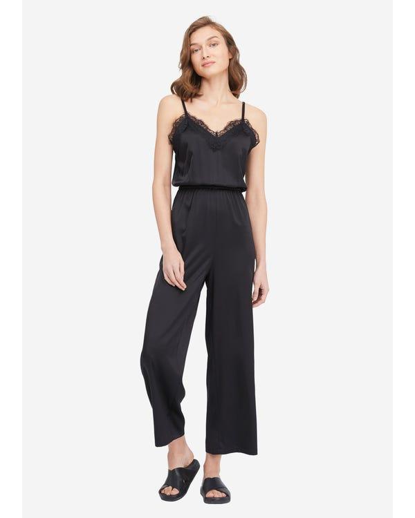 Lace Trimmed Silk Cami Jumpsuit