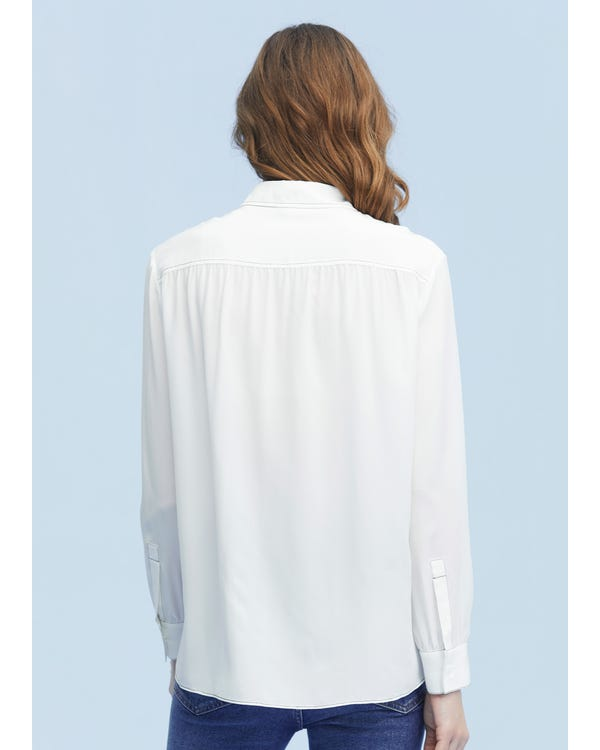 Vintage Silk Shirt With Oversized Collar