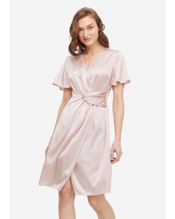 Stylish Overlapping Design Silk Dress